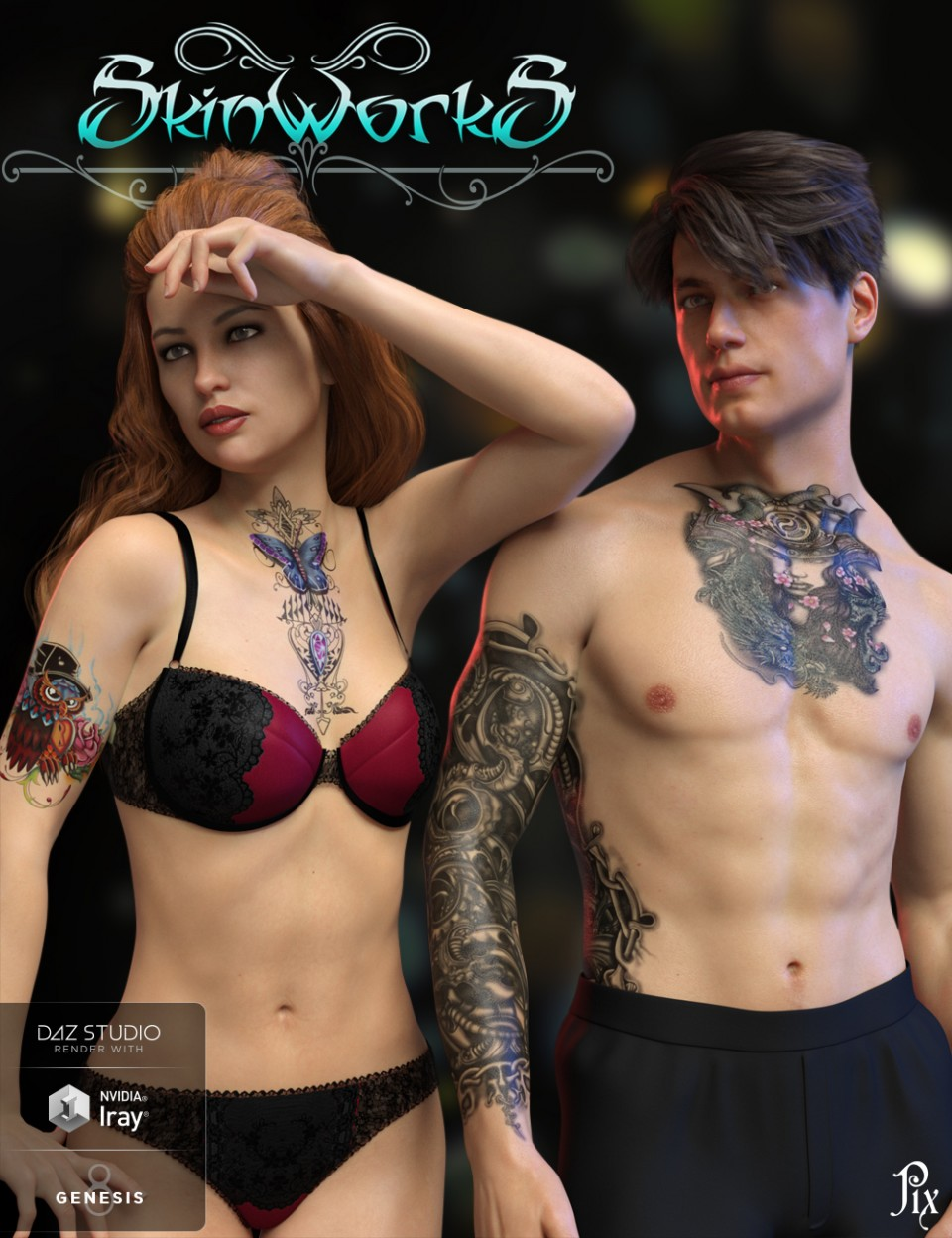 SkinWorks L.I.E. Tattoos for Genesis 3 and 8_DAZ3D下载站