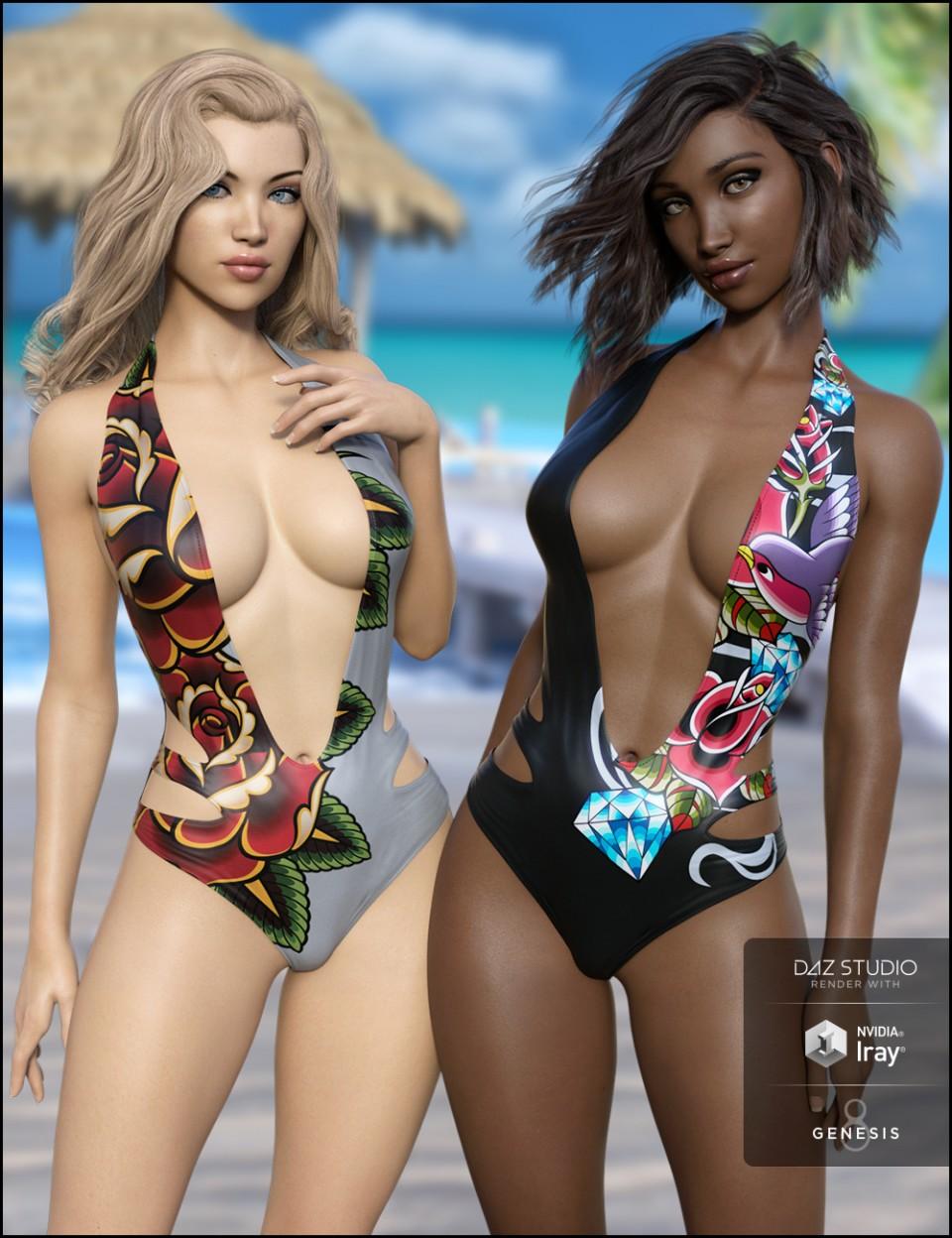 Slash Swimsuit Vacation Textures_DAZ3D下载站