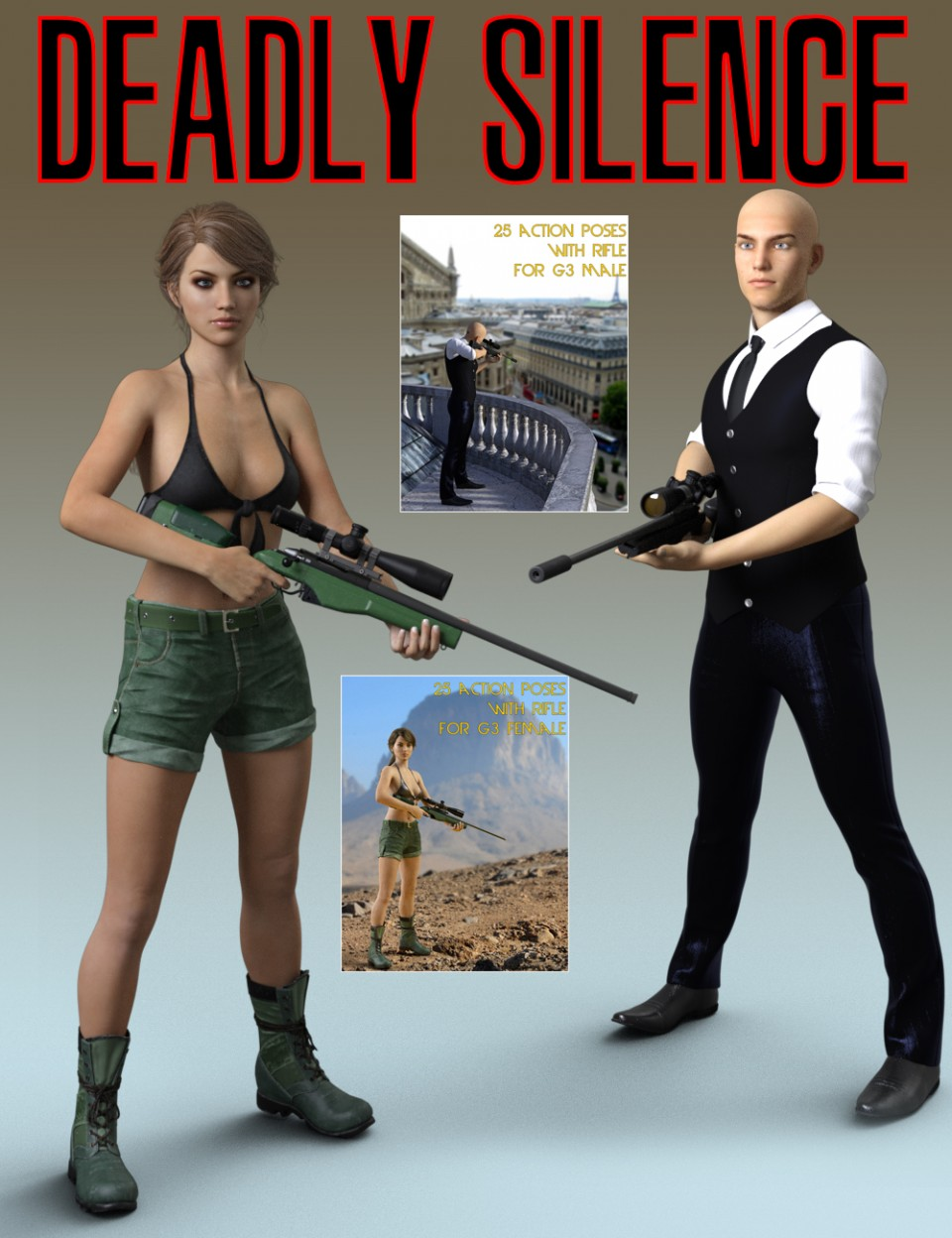 Slide3D Deadly Silence Poses with Rifle for Genesis 3 Female and Male_DAZ3D下载站