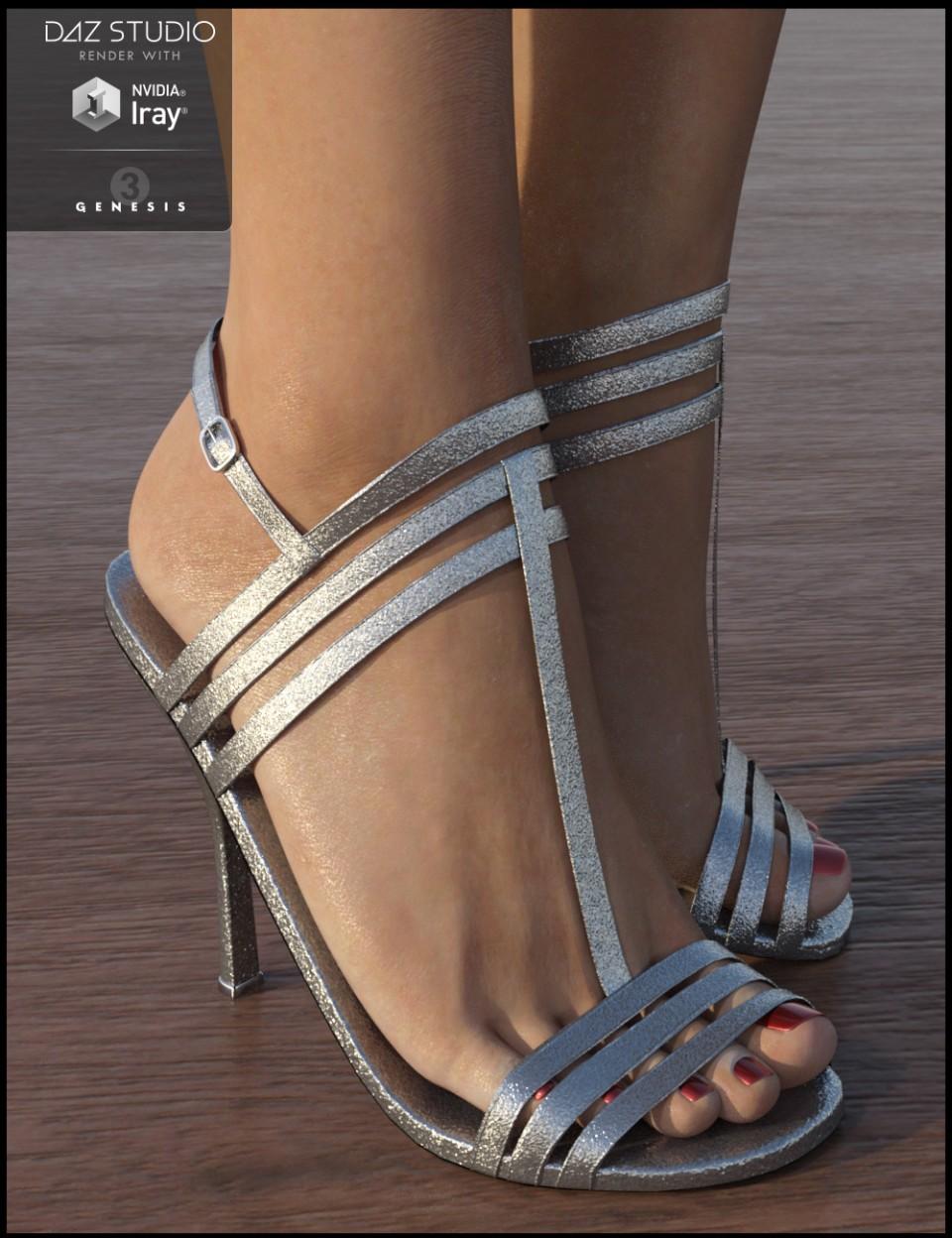 Strappy Sandal Heels for Genesis 3 Female(s)_DAZ3D下载站