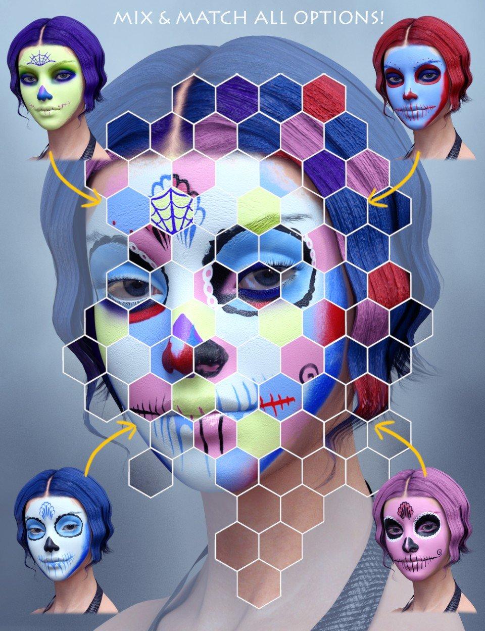 Sugar Skull Make-up for Genesis 3 Female_DAZ3D下载站