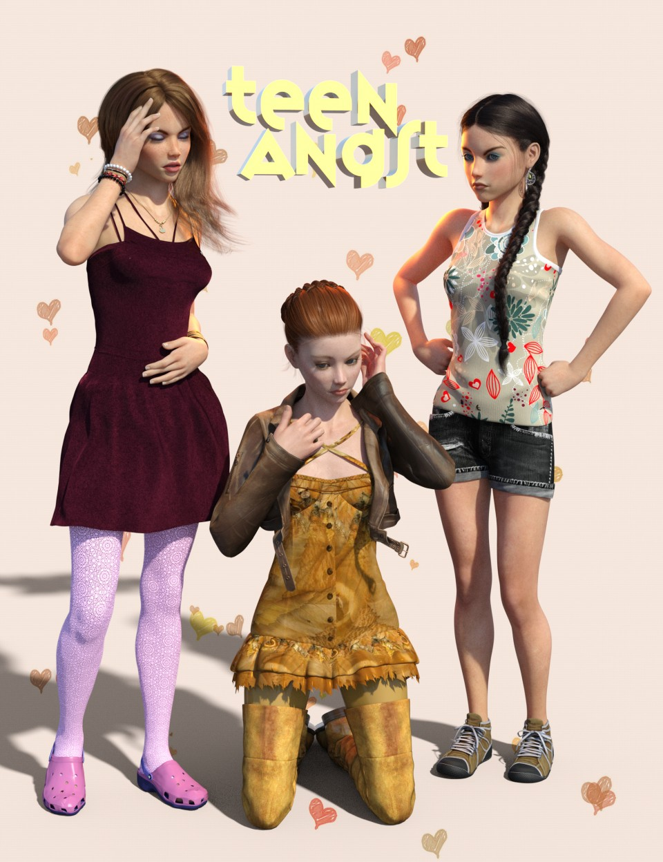 Teen Angst Poses and Expressions for Teen Kaylee 8 and Teen Josie 8_DAZ3D下载站