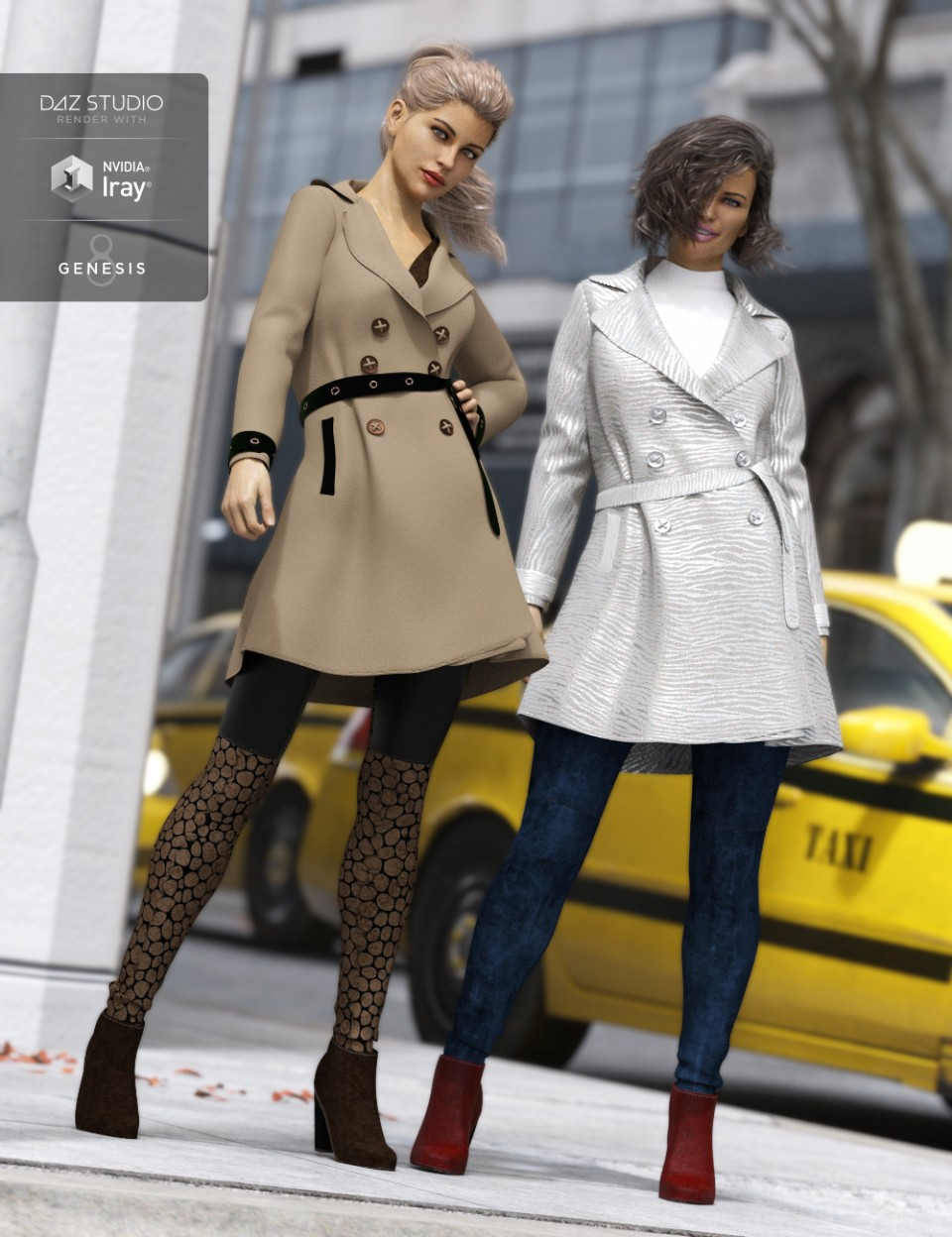 Trench Coat Outfit Textures_DAZ3D下载站