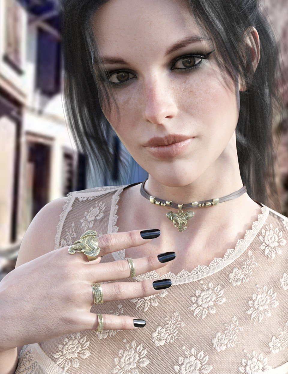 X-Fashion Bohemian Top and Accessories for Genesis 8 Female(s)_DAZ3D下载站