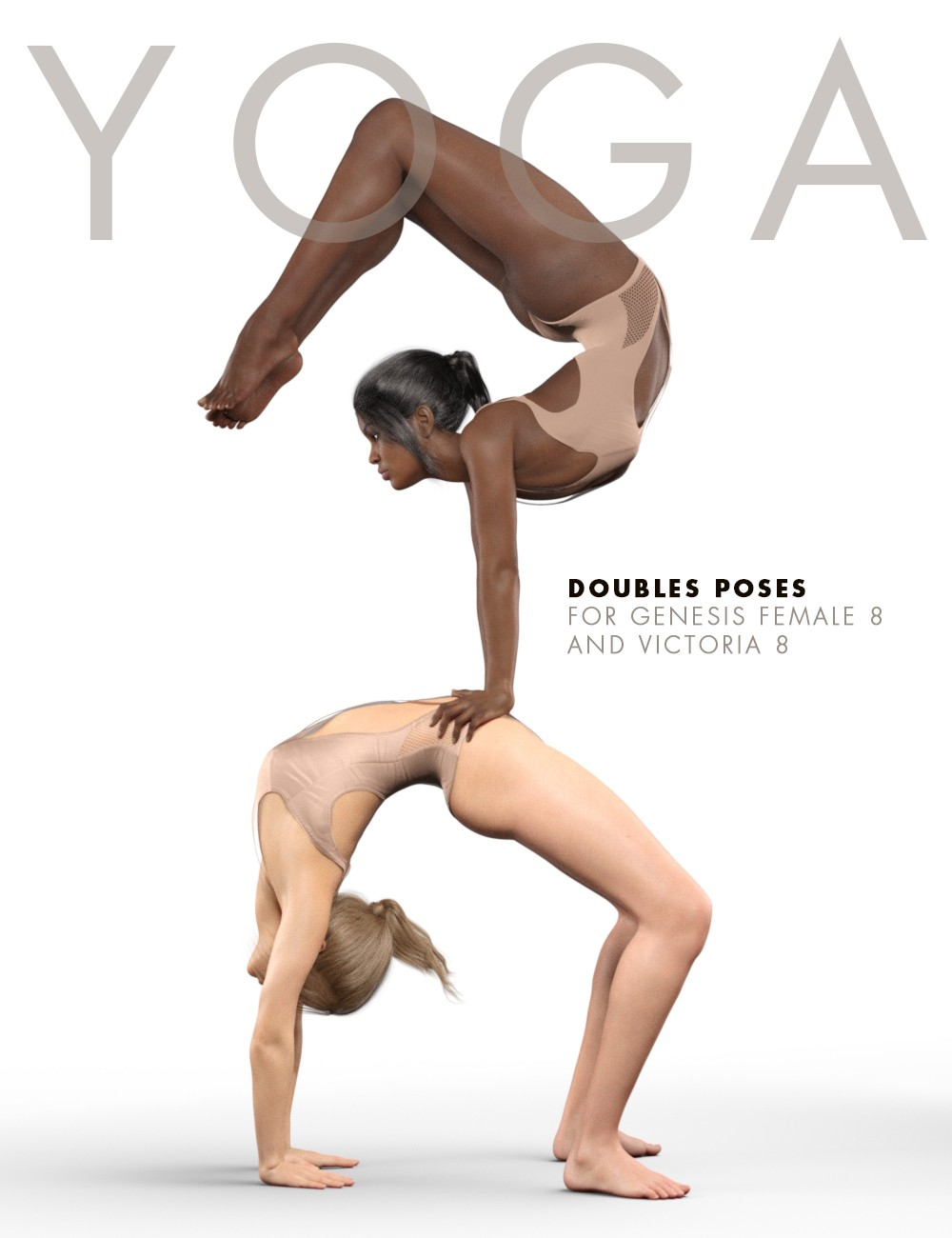 YOGA Doubles Poses for Genesis 8 Female(s) and Victoria 8_DAZ3D下载站