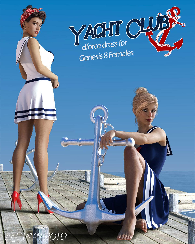 Yacht Club dForce dress for Genesis 8 Females_DAZ3D下载站