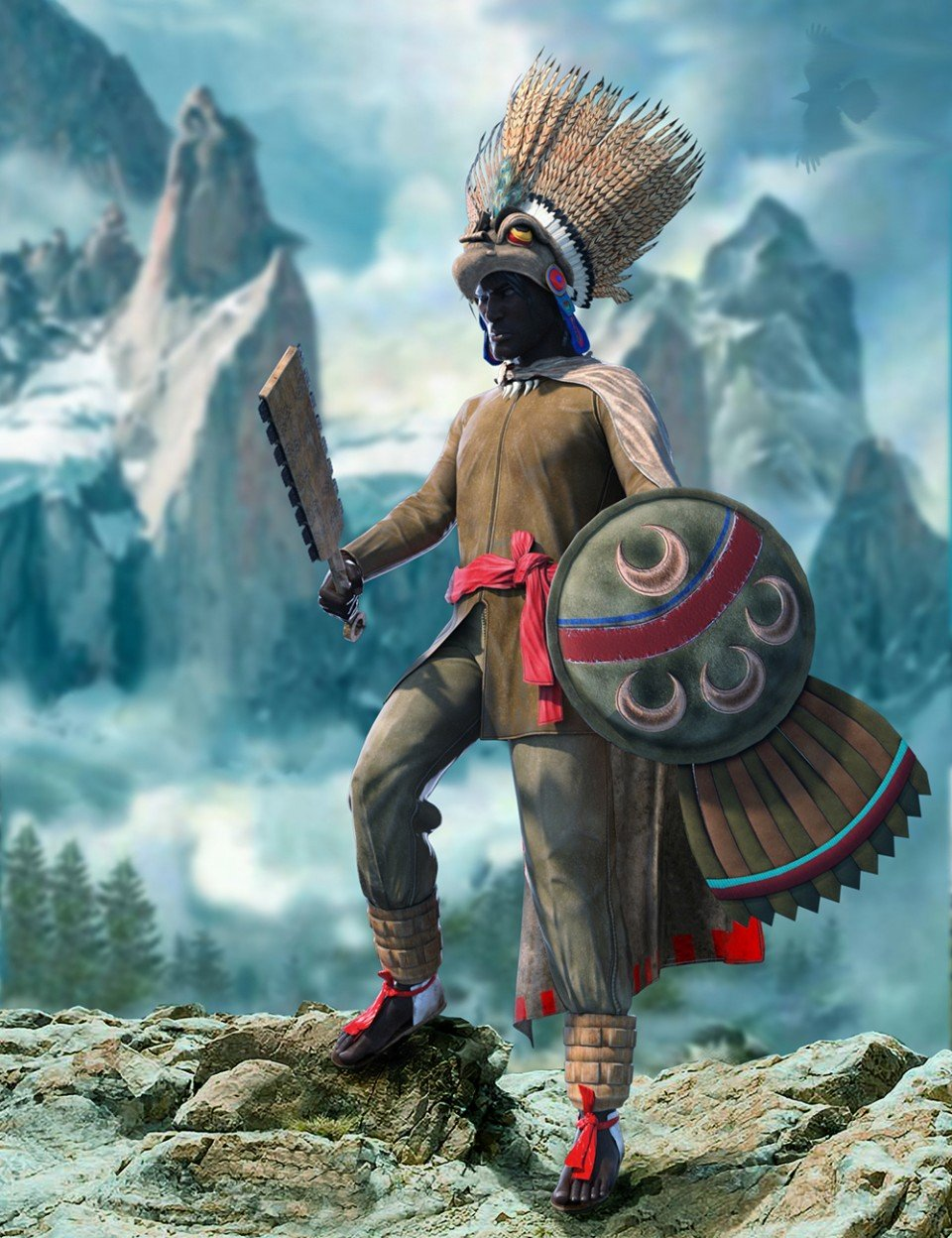 dForce Aztec Eagle Warrior Outfit for Genesis 8 Male(s)_DAZ3D下载站