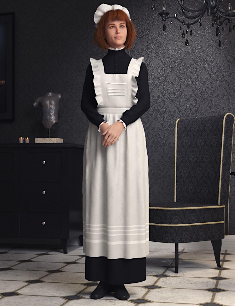 dForce Edwardian Maid Uniform for Genesis 8 Female(s)_DAZ3D下载站