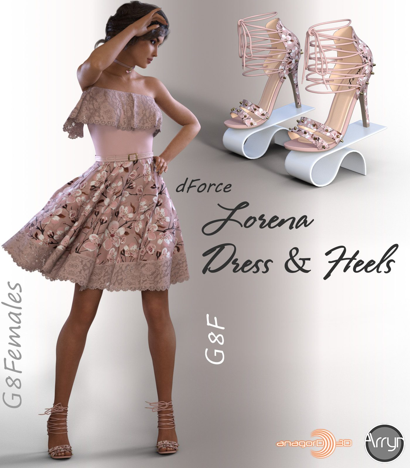 dForce Lorena Dress and Footwear Outfit for G8F_DAZ3D下载站