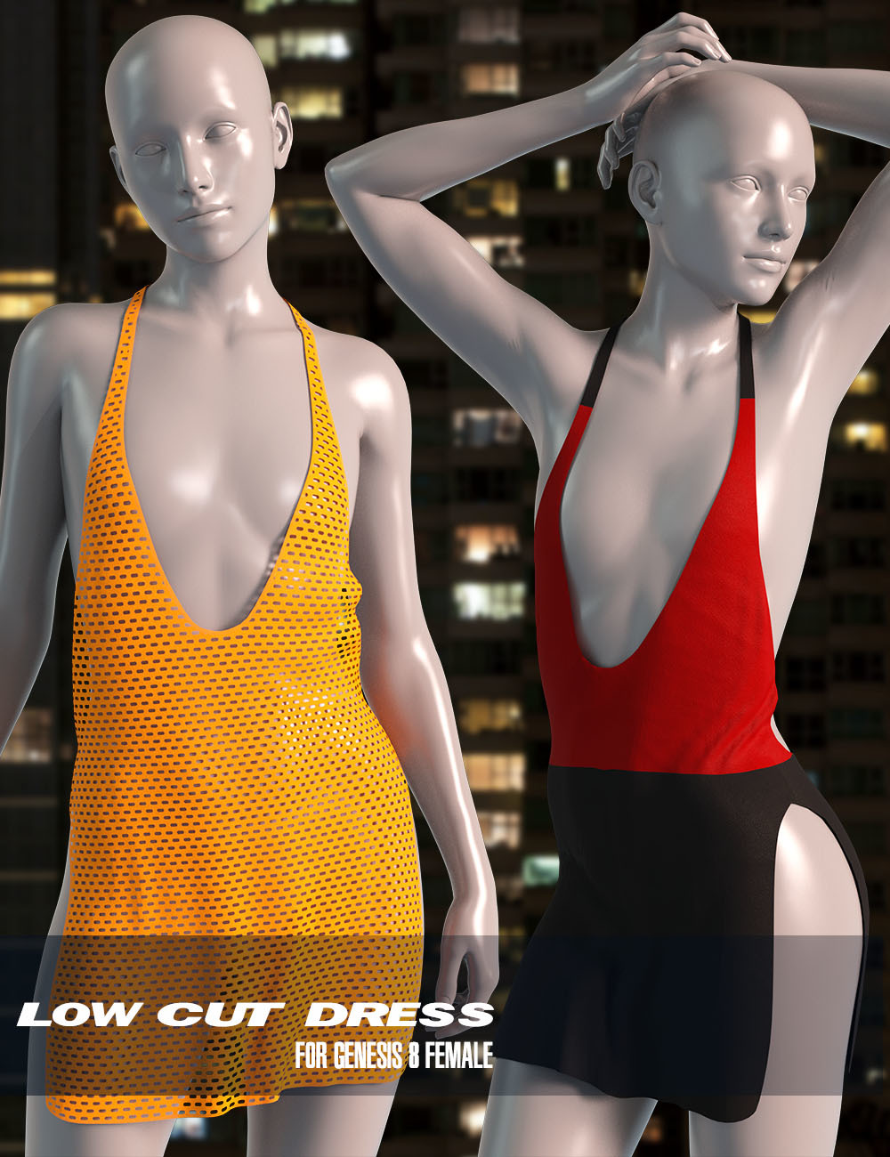 dForce Low Cut Dress for Genesis 8 Female_DAZ3D下载站