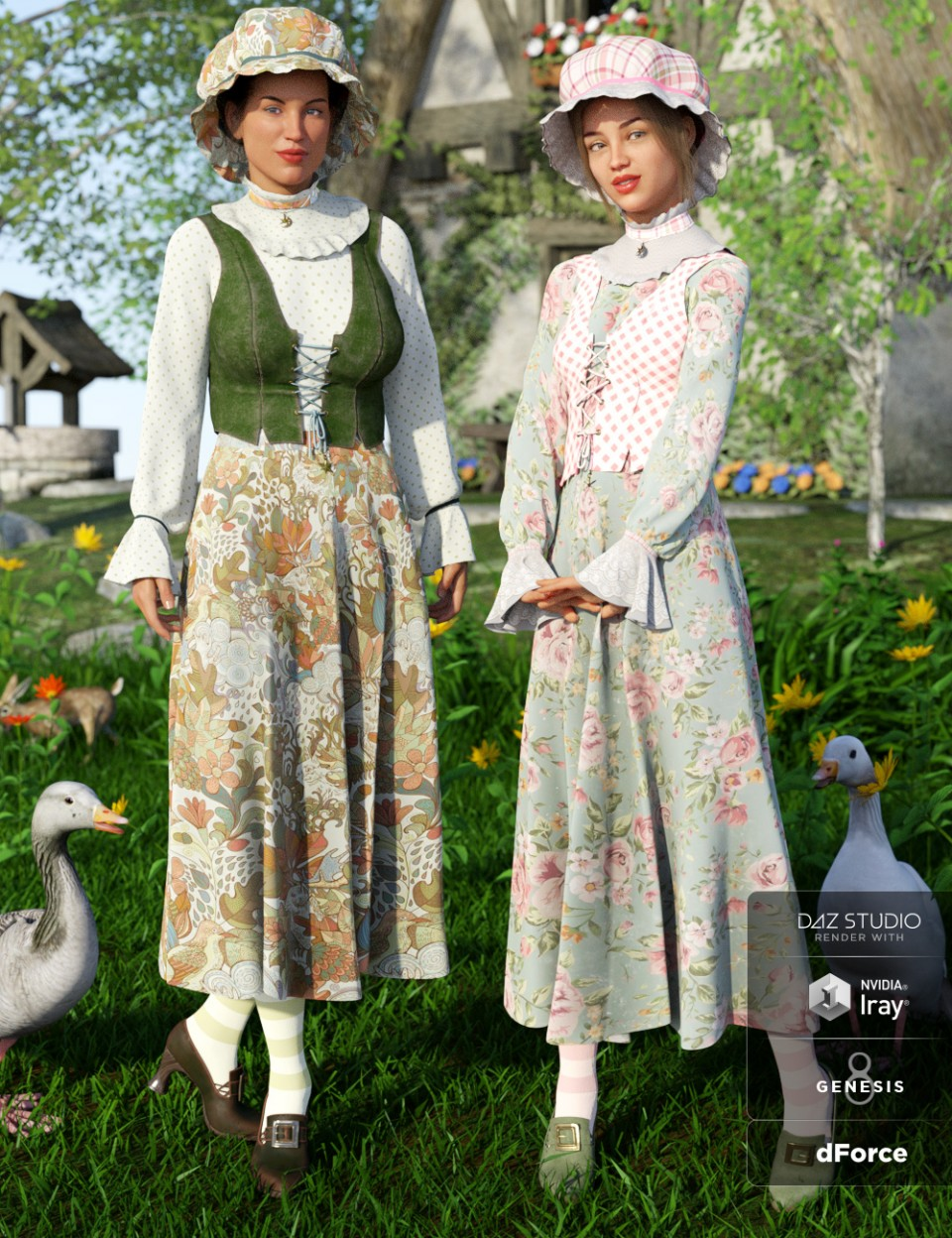 dForce Mother Goose Outfit Textures_DAZ3D下载站