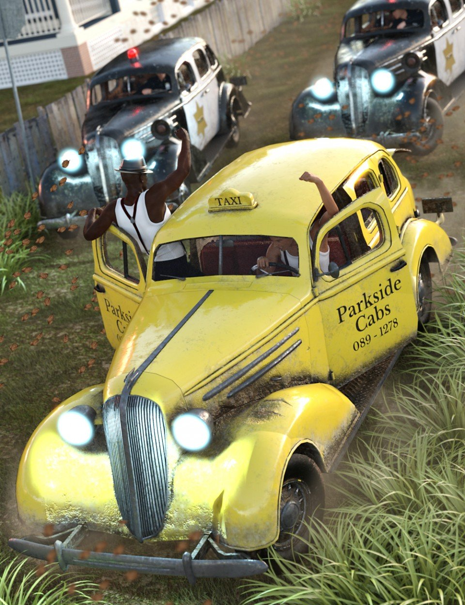 1936 AM Sedan + Cabs 'n' Cops_DAZ3D下载站