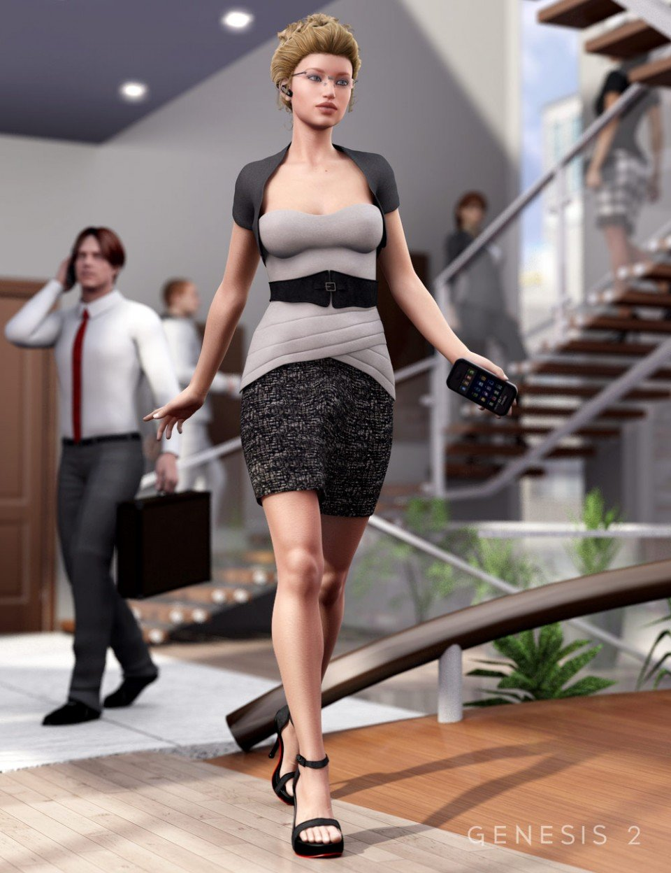 Back to Business Outfit for Genesis 2 Female(s) + Textures_DAZ3D下载站