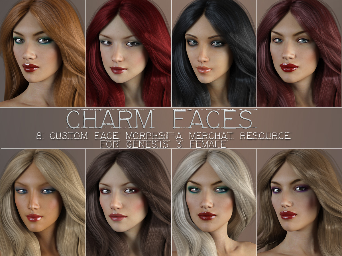 Charm Faces for Genesis 3 Female_DAZ3D下载站