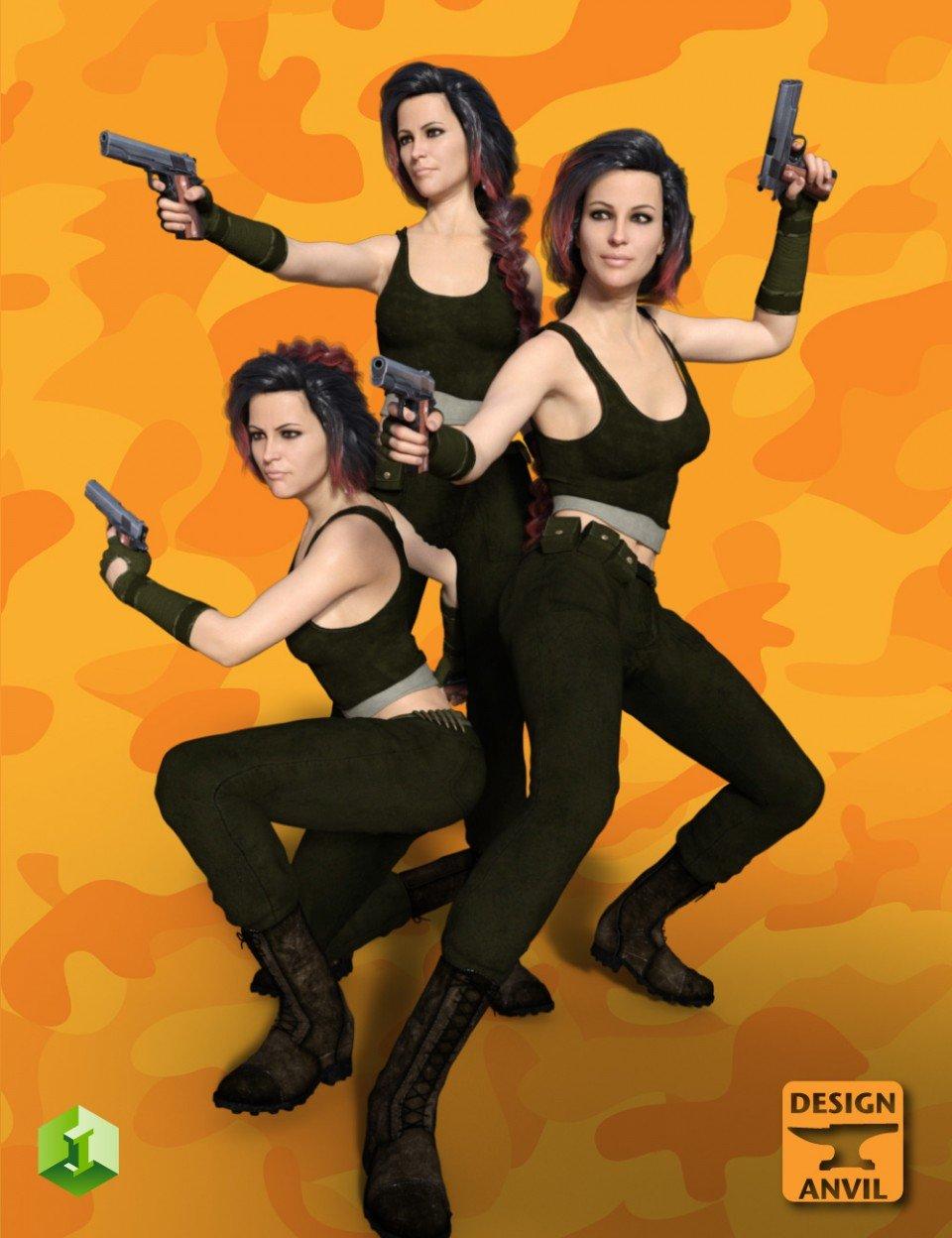 DA Hand Gun and Poses for Genesis 8 Female(s)_DAZ3D下载站