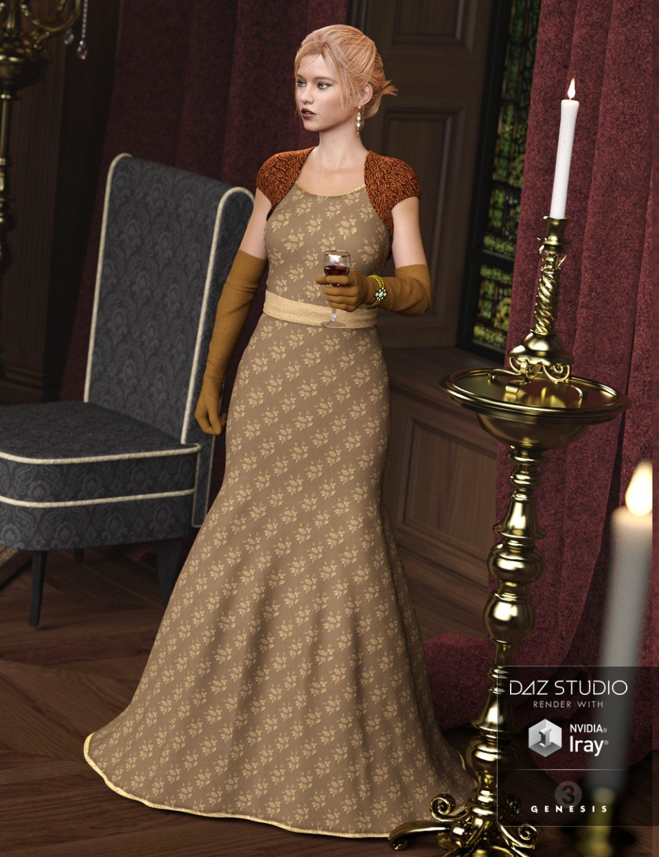 Evening Gown for Genesis 3 Female(s)_DAZ3D下载站