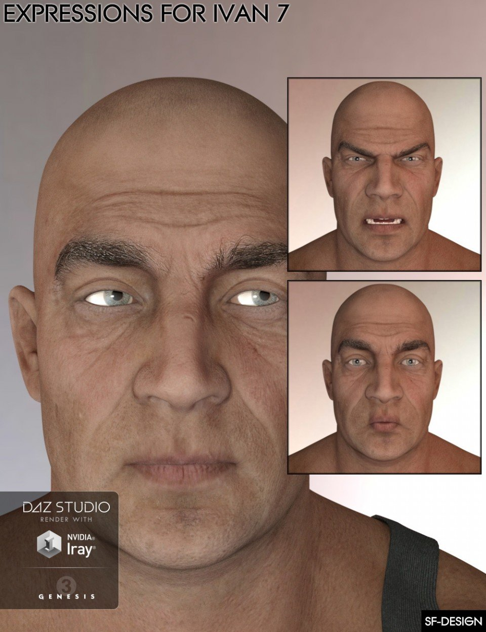 Expressions for Ivan 7 and Genesis 3 Male(s)_DAZ3D下载站