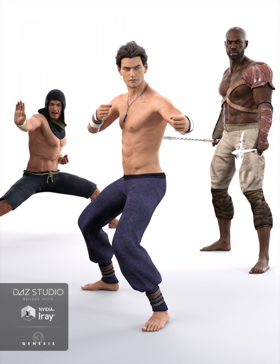 First Warrior Poses for Genesis 3 Male(s)_DAZ3D下载站