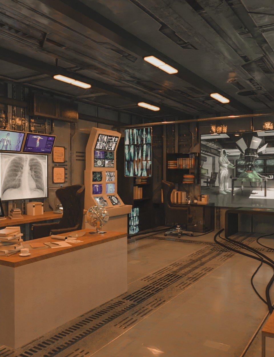 Futuristic Rustic Office_DAZ3D下载站