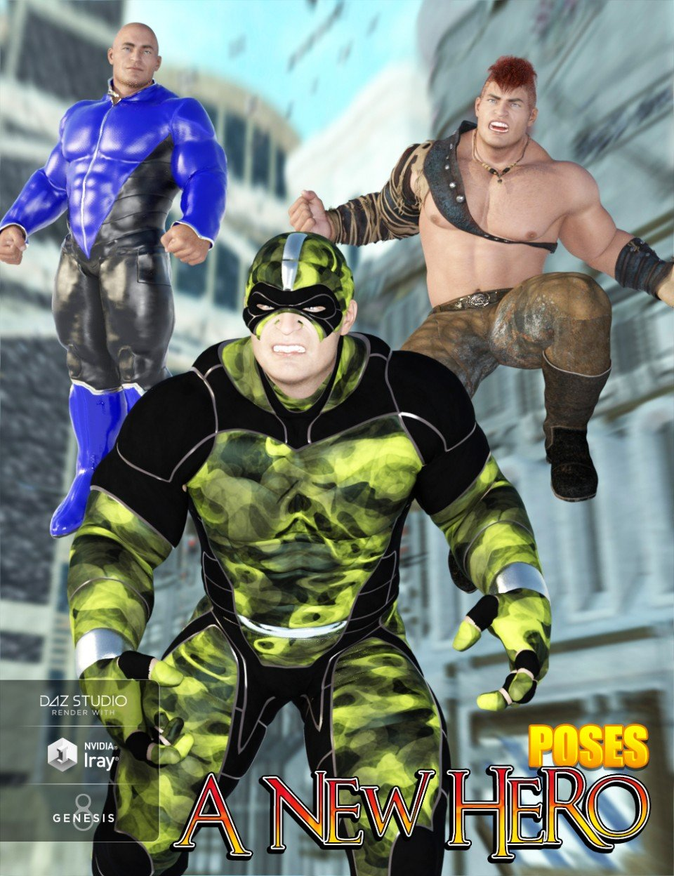 Hero Poses for The Brute 8 and Genesis 8 Male_DAZ3D下载站