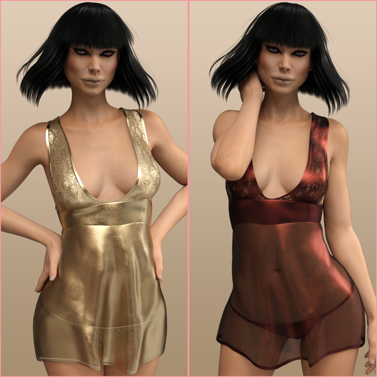 InStyle – Fashion Babydoll for Genesis 3 Females_DAZ3D下载站