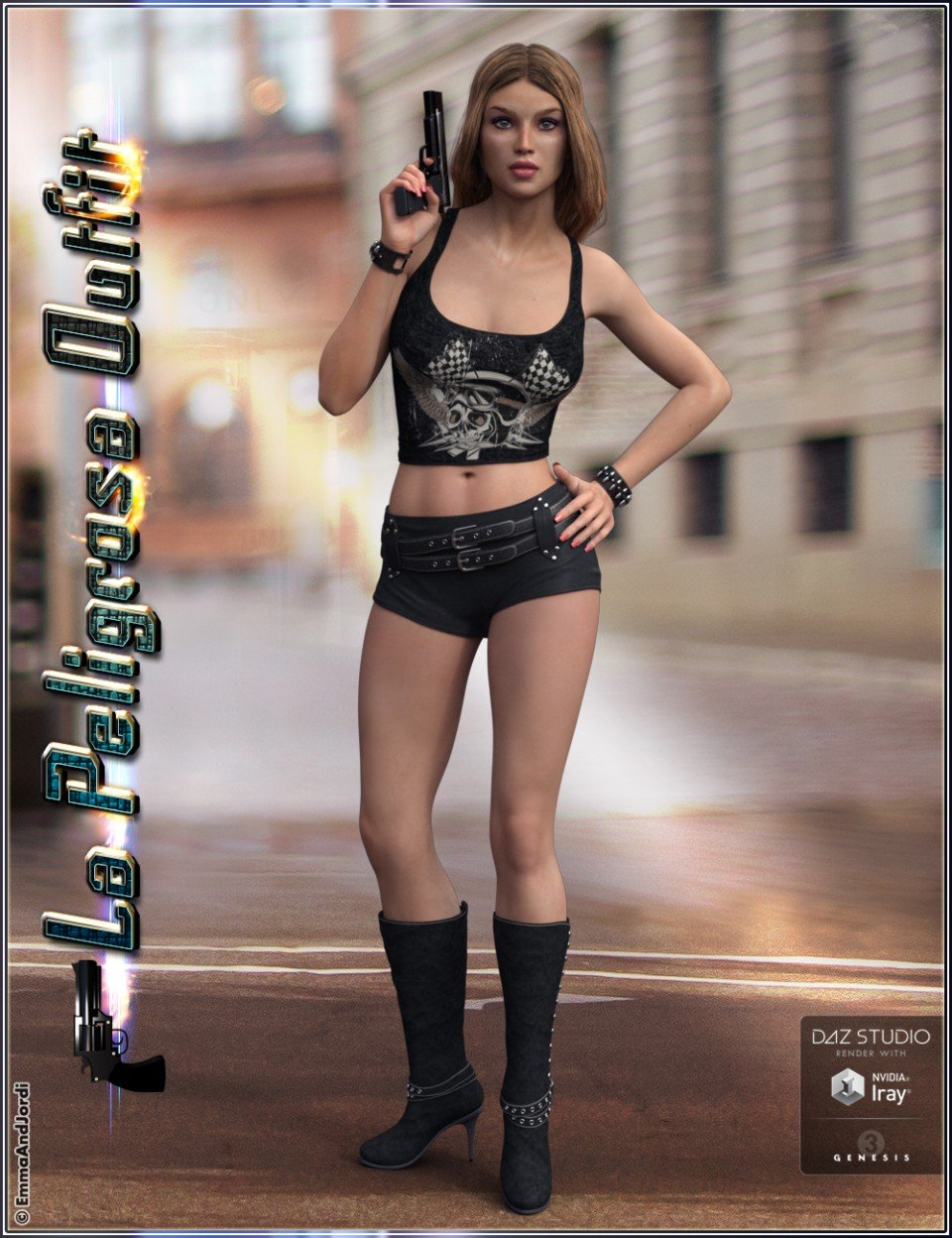 La Peligrosa Outfit and Accessories for Genesis 3 Female(s)_DAZ3D下载站