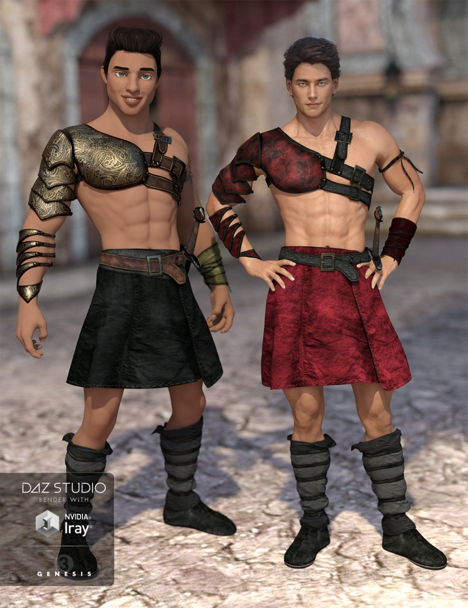 Leather Warrior Outfit Textures_DAZ3D下载站
