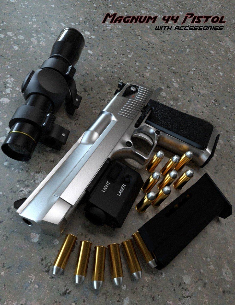 Magnum 44 Pistol with Accessories_DAZ3D下载站