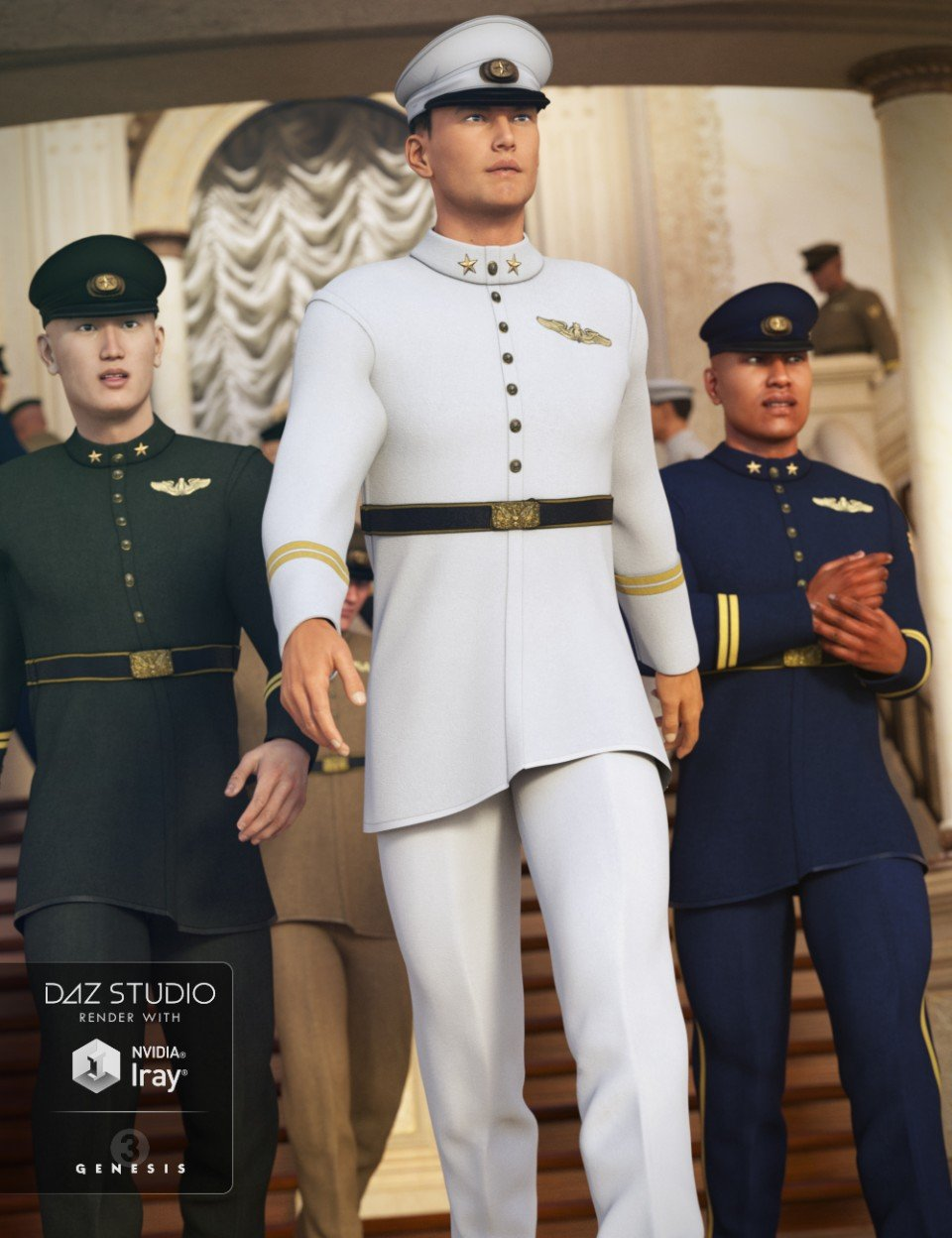 Military Dress Uniform for Genesis 3 Male(s) and Genesis 2 Male(s)_DAZ3D下载站