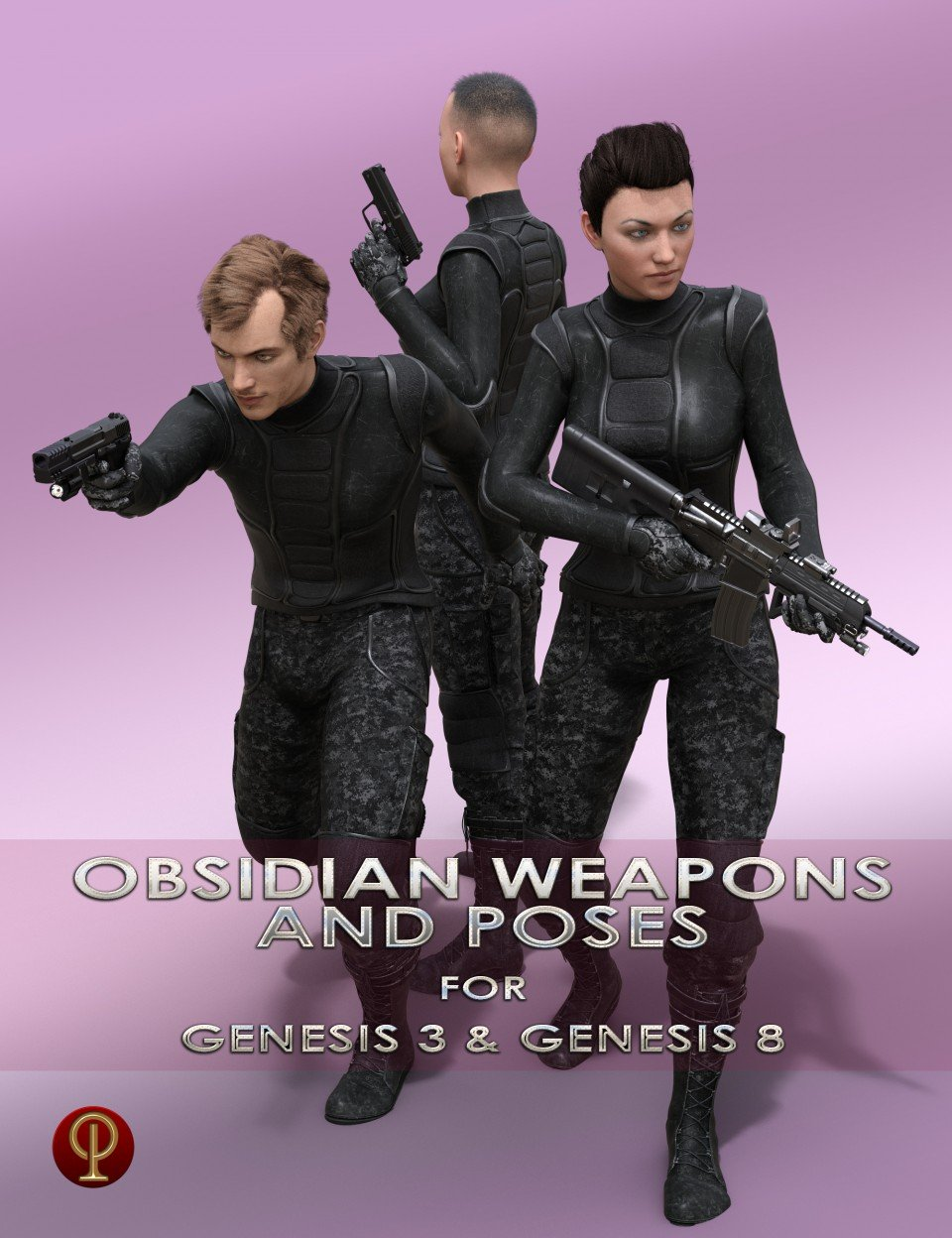 Obsidian Weapons and Poses for Genesis 3 and 8 Male and Female_DAZ3D下载站