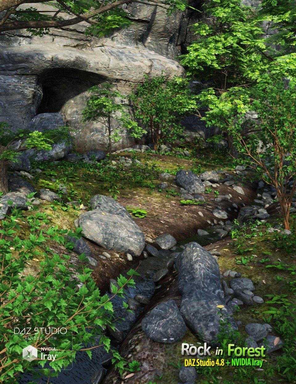 Rock in Forest_DAZ3D下载站