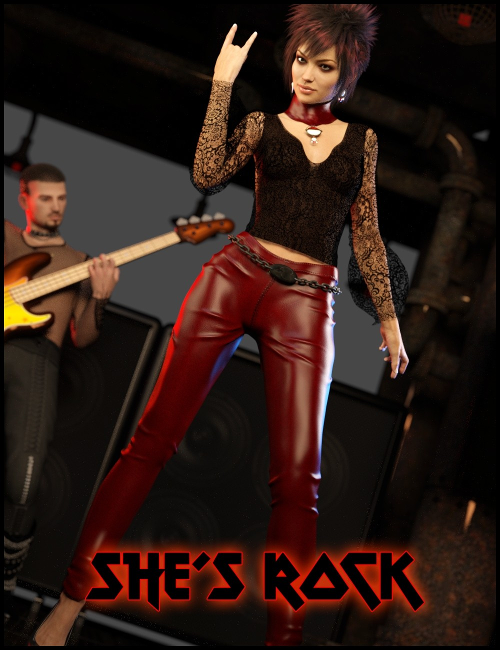 She's Rock Outfit for Genesis 3 Female(s)_DAZ3D下载站