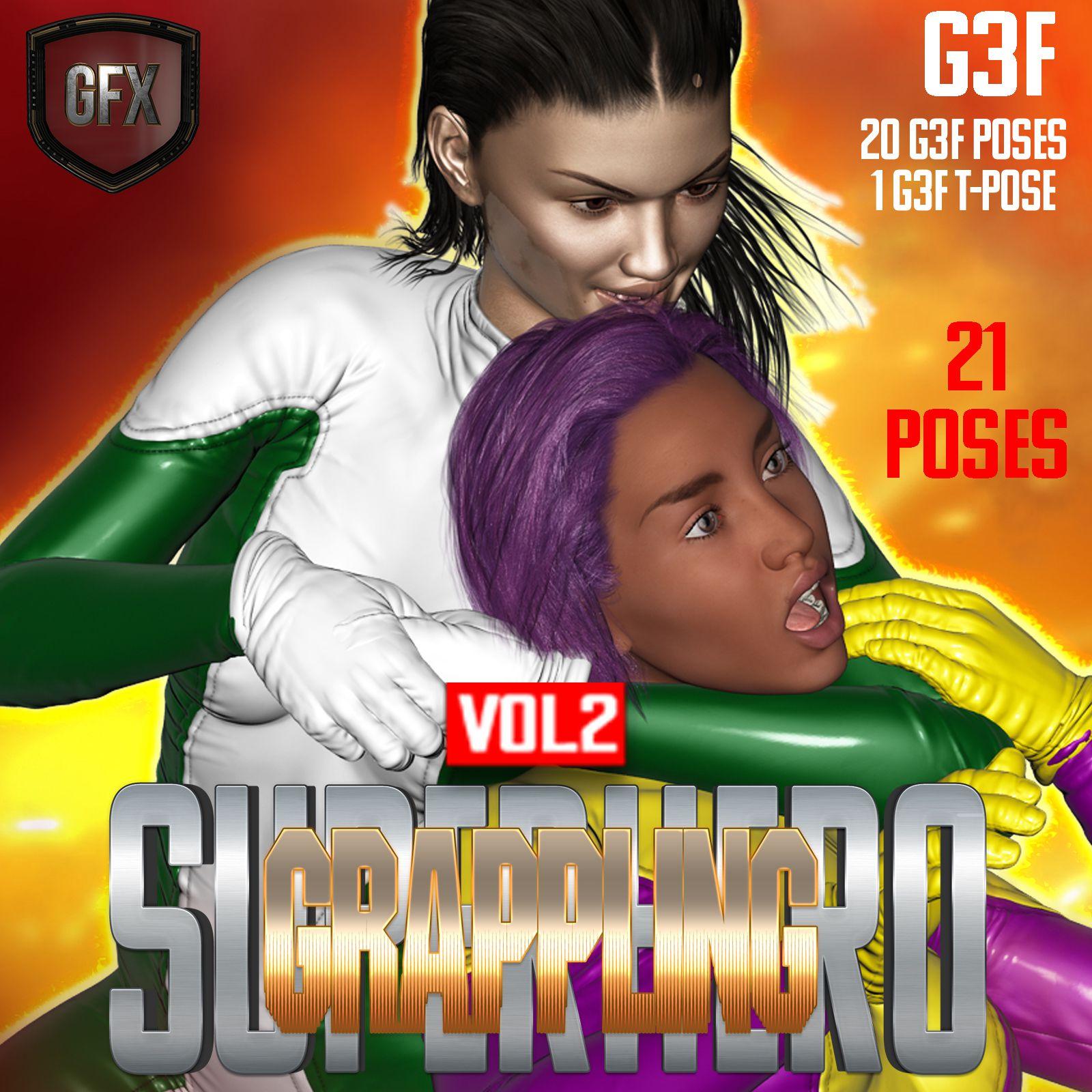 SuperHero Grappling for G3F Volume 2_DAZ3D下载站