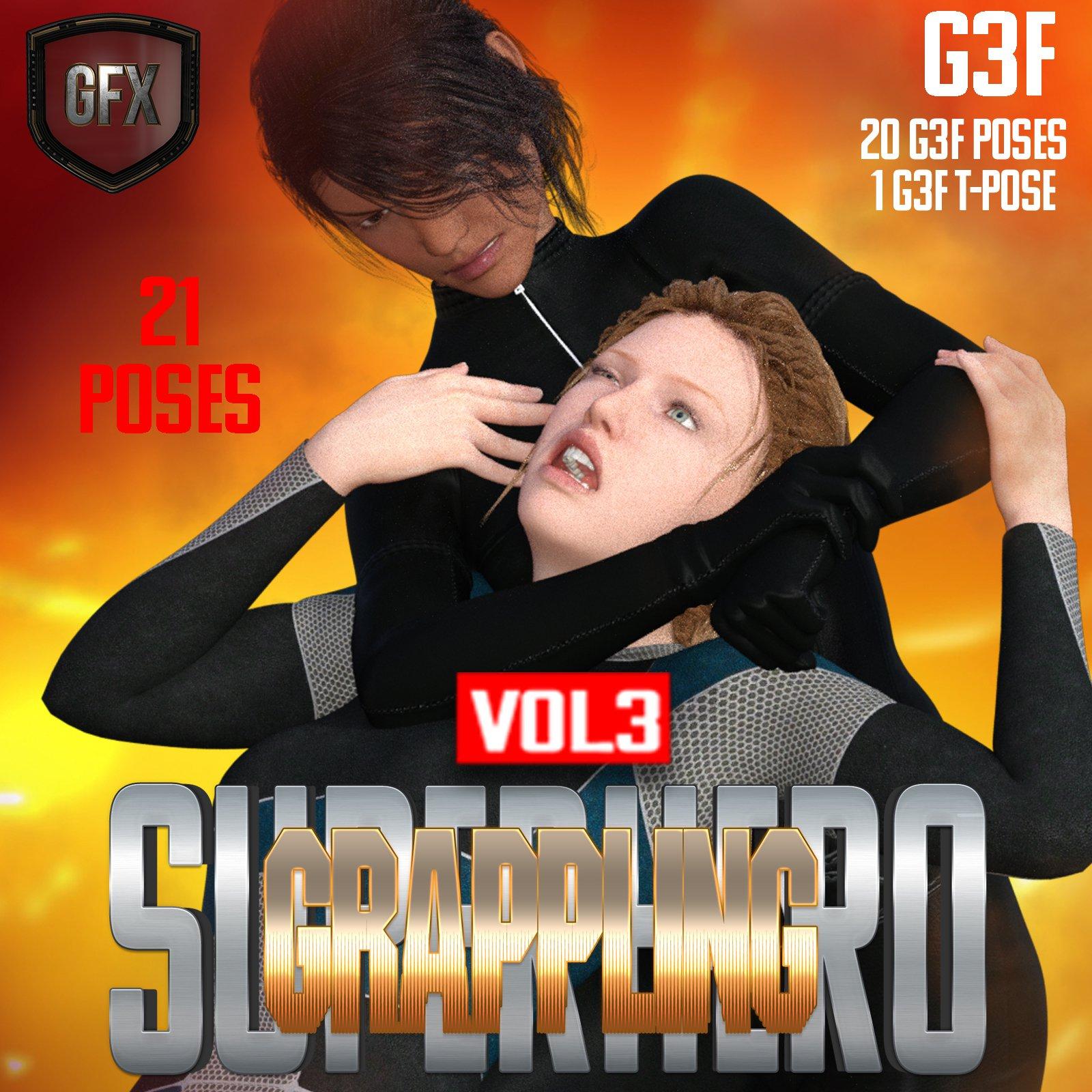 SuperHero Grappling for G3F Volume 3_DAZ3D下载站