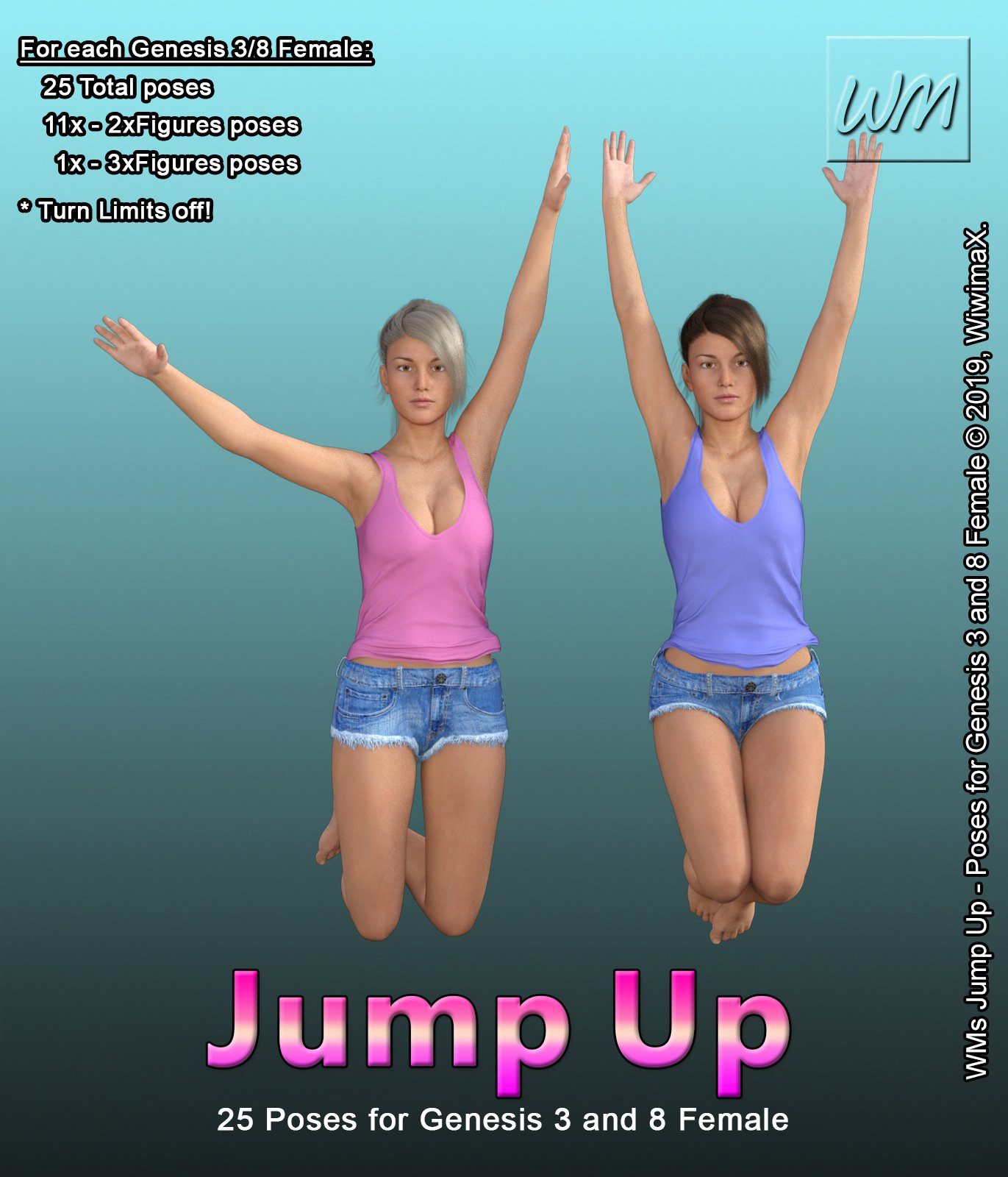 WMs Jump Up – Poses for Genesis 3 and 8 Female_DAZ3D下载站