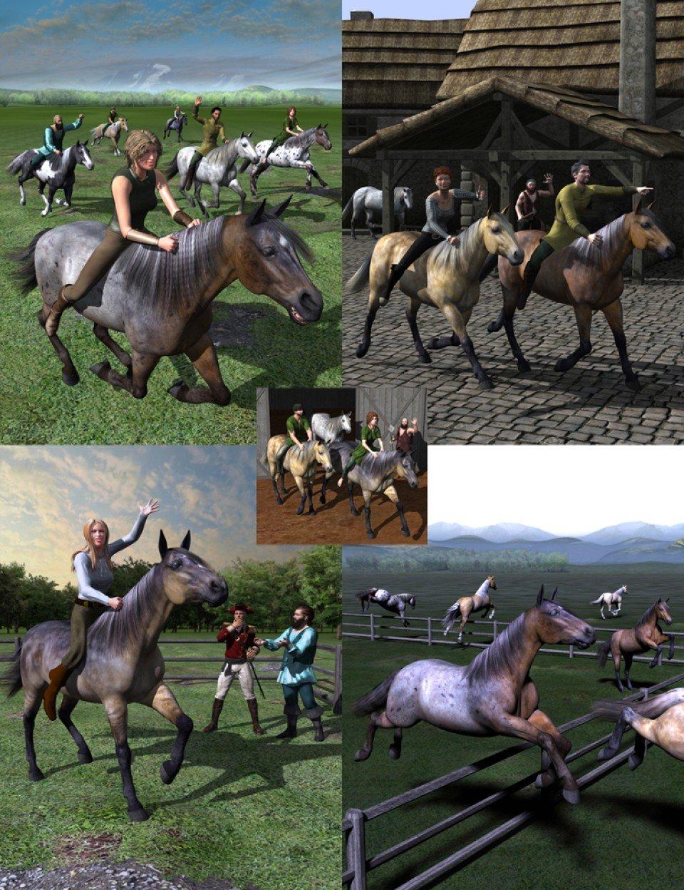 Walking, Trotting, Cantering, Galloping, and Jumping Actions Bundle_DAZ3D下载站