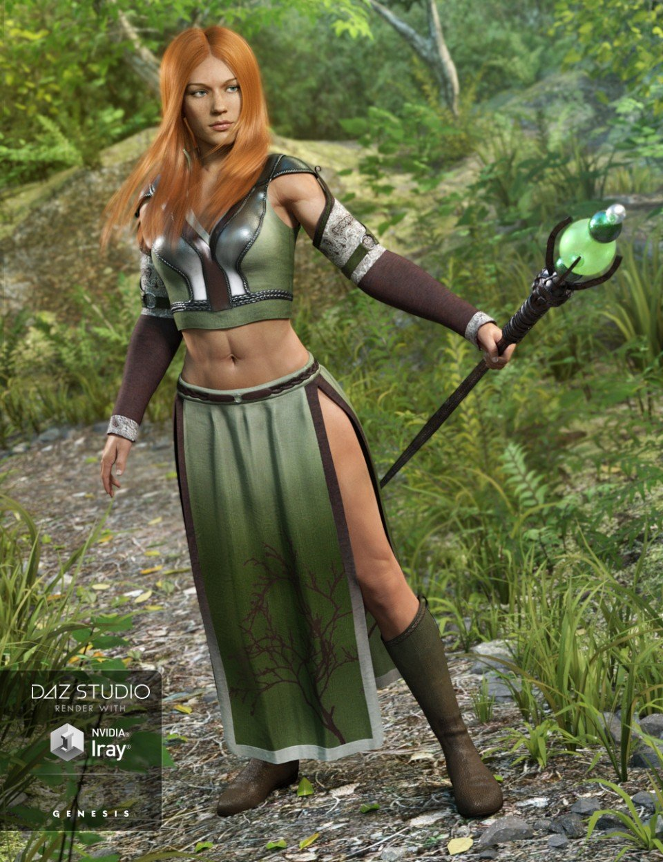 Woodland Summoner Outfit for Genesis 3 Female(s)_DAZ3D下载站