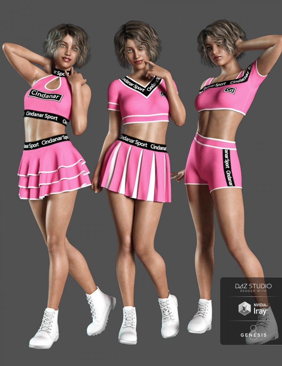 dForce Cheerleader Outfit for Genesis 8 Female(s)_DAZ3D下载站