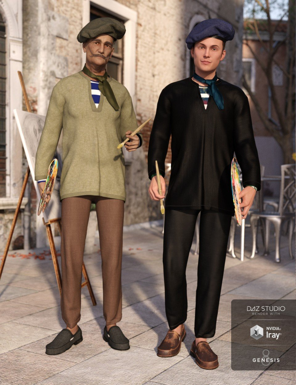 dForce French Painter Outfit Textures_DAZ3D下载站