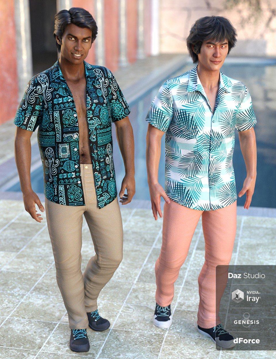 dForce Party Oahu Outfit Textures_DAZ3D下载站