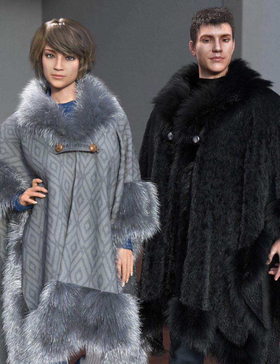 dForce Real Fur Poncho for Genesis 8_DAZ3D下载站