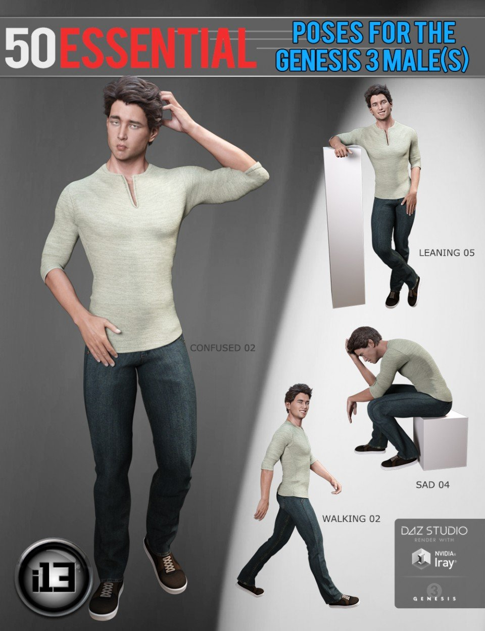 i13 50 Essential Poses for the Genesis 3 Male(s)_DAZ3D下载站