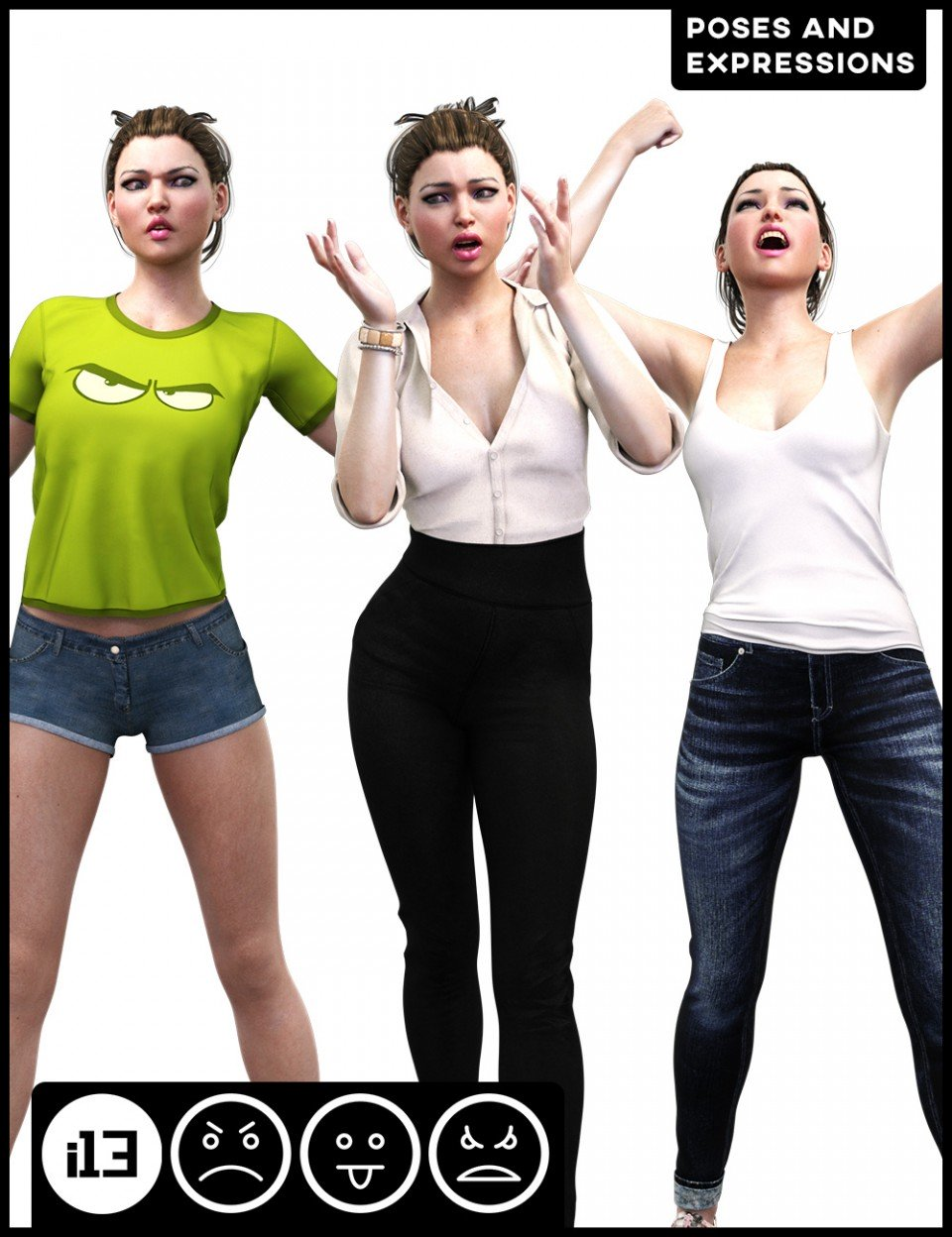 i13 Anger Disgust and Rage Poses and Expressions for Genesis 3 Female(s)_DAZ3D下载站