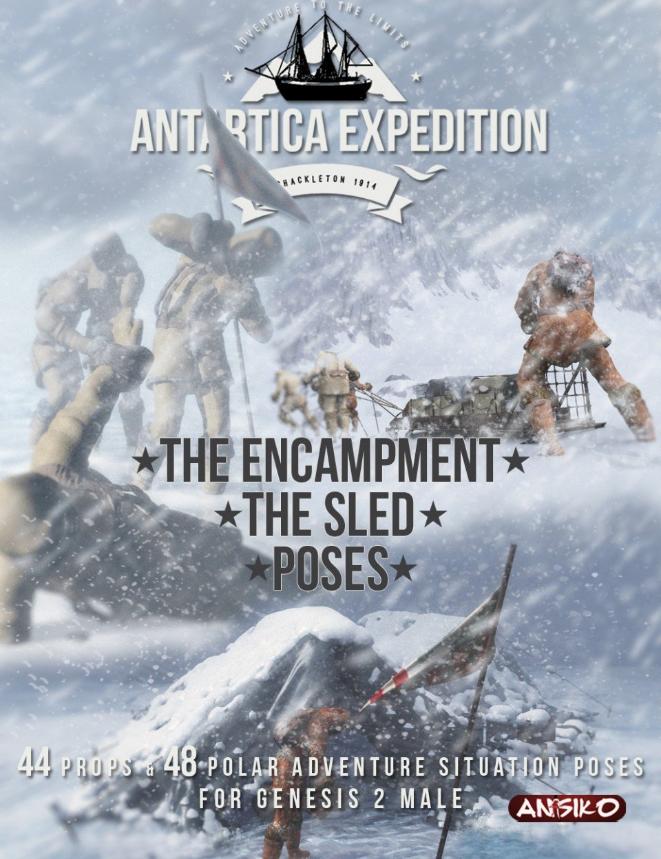 Antarctica Expedition: The Encampment, Sled and Poses_DAZ3D下载站