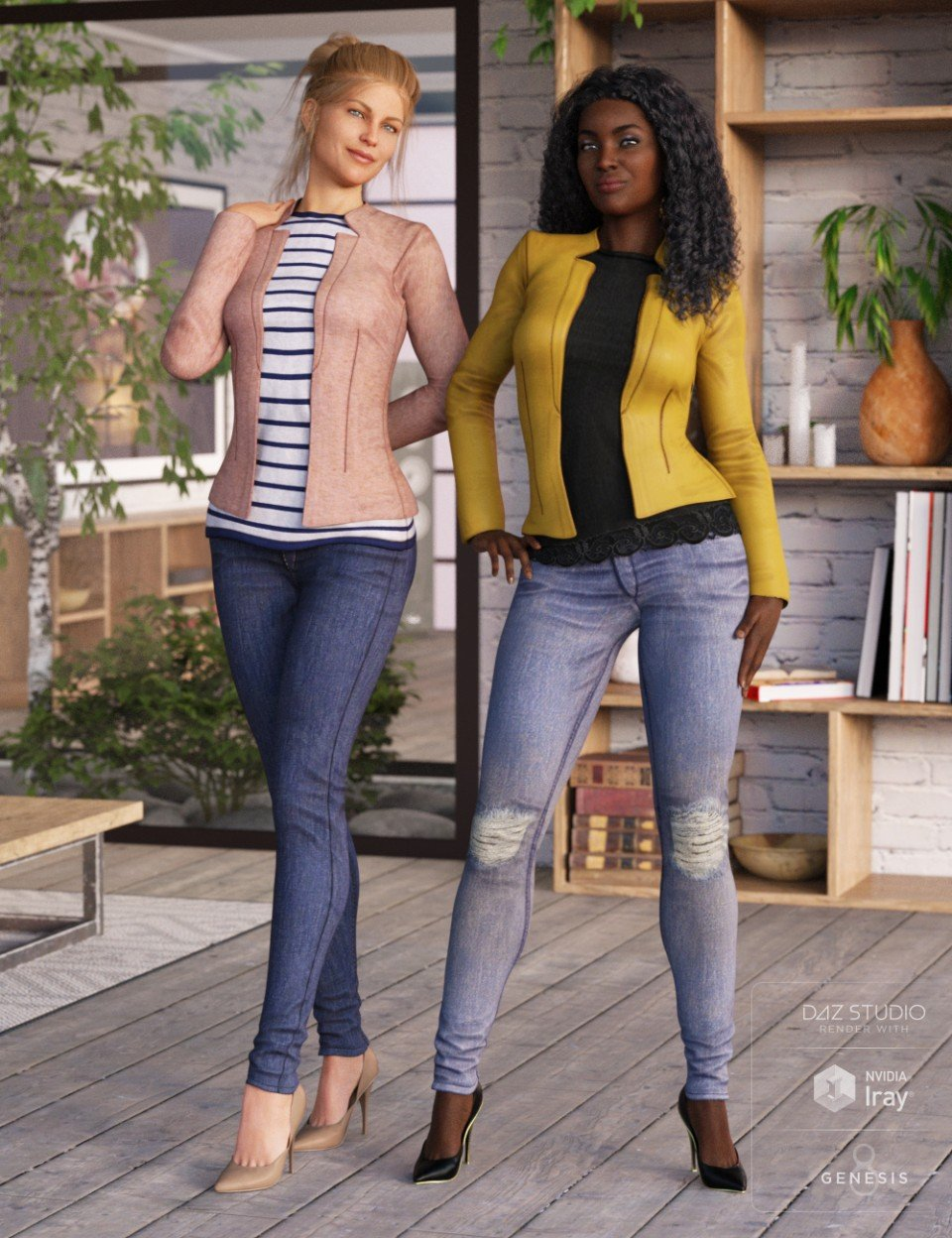 Blazer and Skinny Jeans Outfit Textures_DAZ3D下载站
