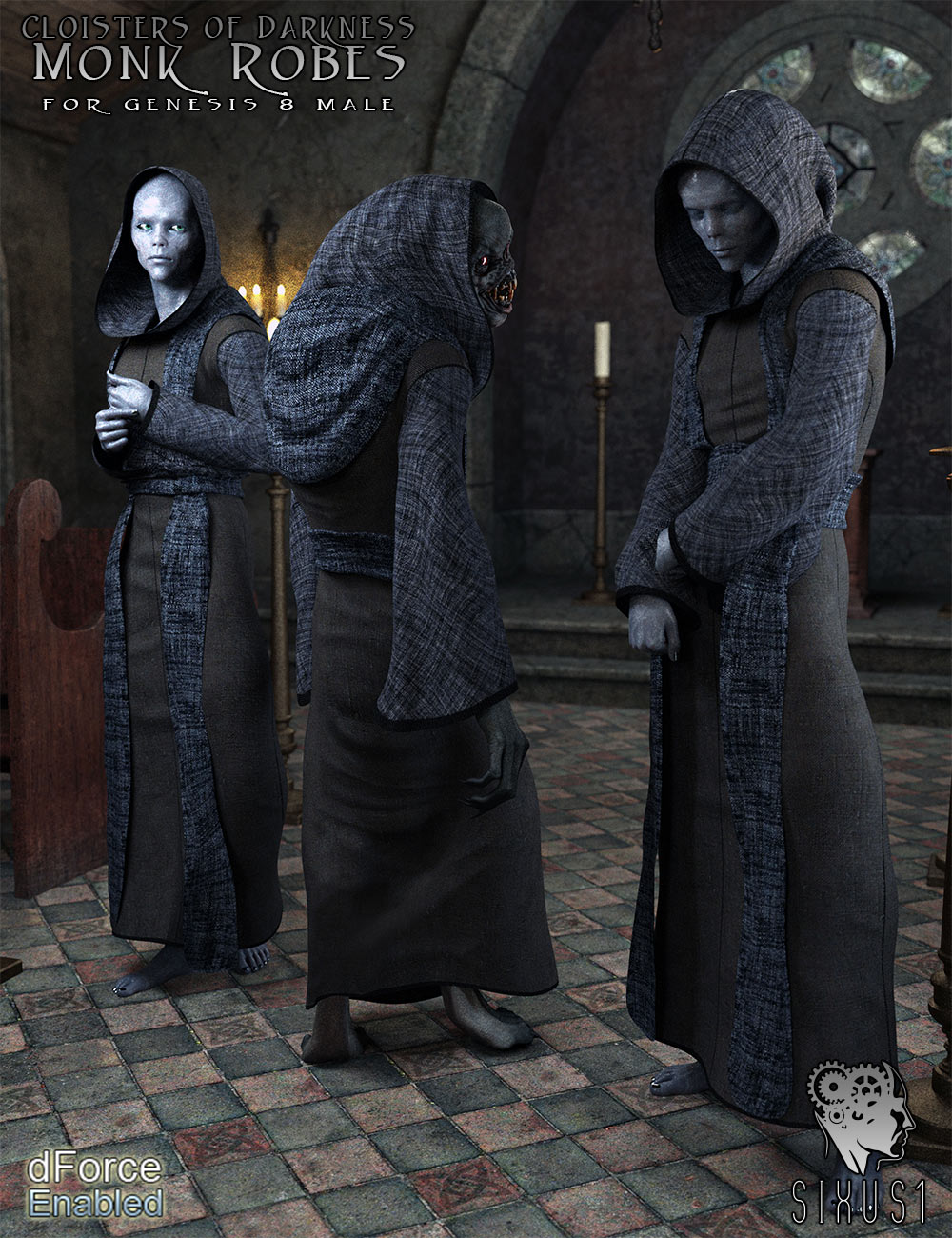 Cloisters of Darkness: Monk Robes for Genesis 8 Male_DAZ3D下载站