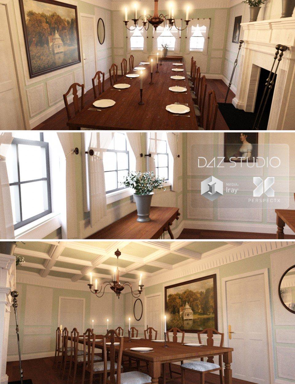 Regency Dining Set_DAZ3D下载站