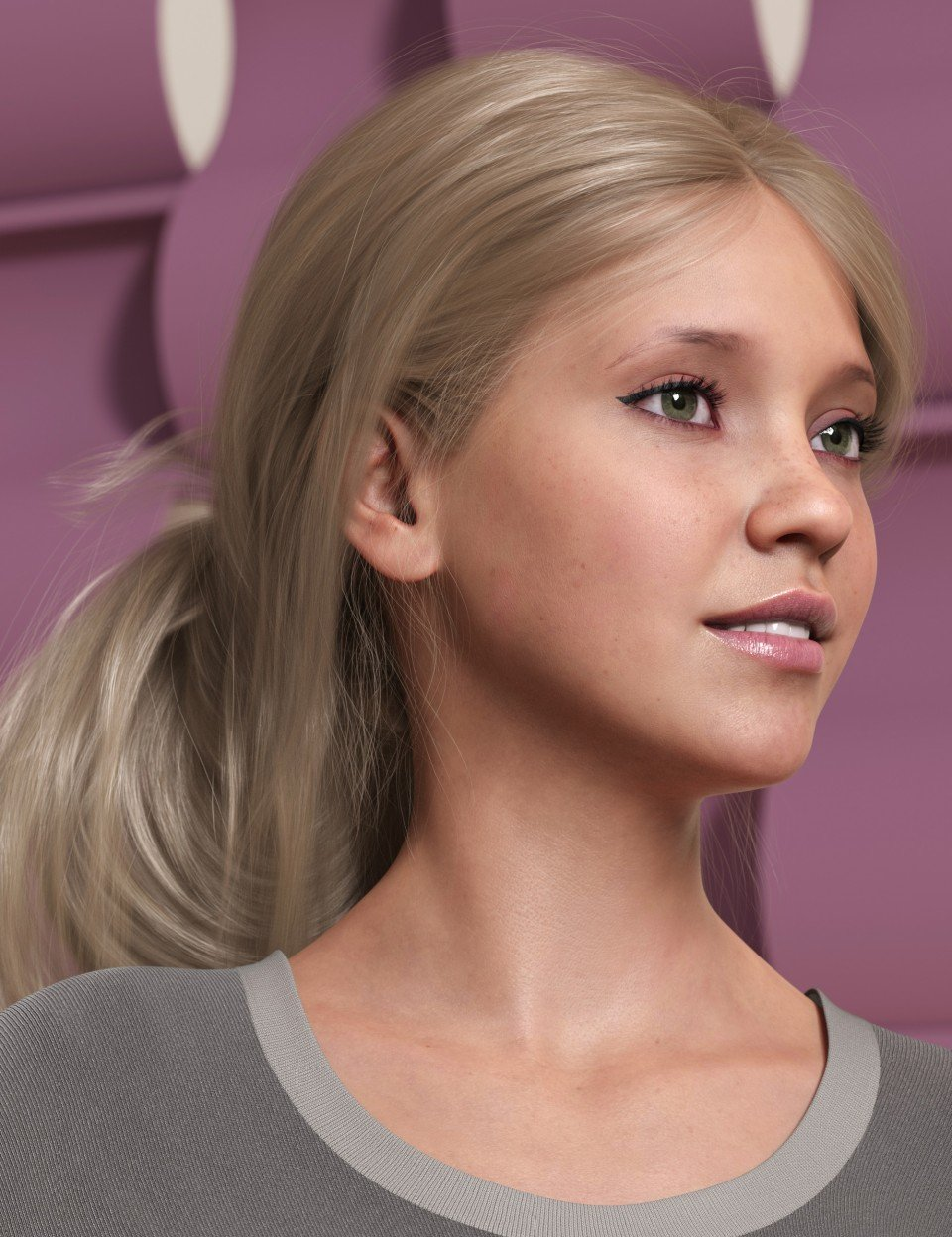 Wild Loop Tail Hair for Genesis 3 and 8 Female(s) and Male(s)_DAZ3D下载站