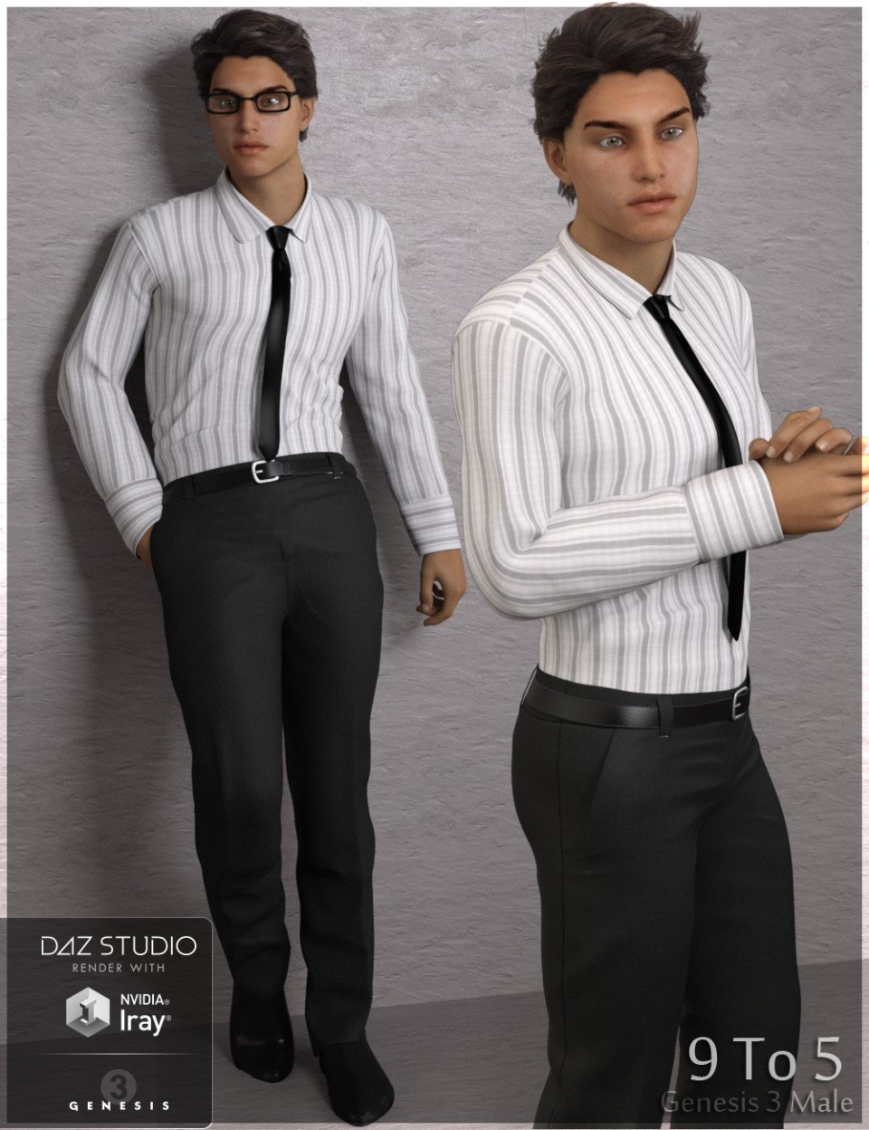 9 To 5 Outfit for Genesis 3 Male(s)_DAZ3D下载站