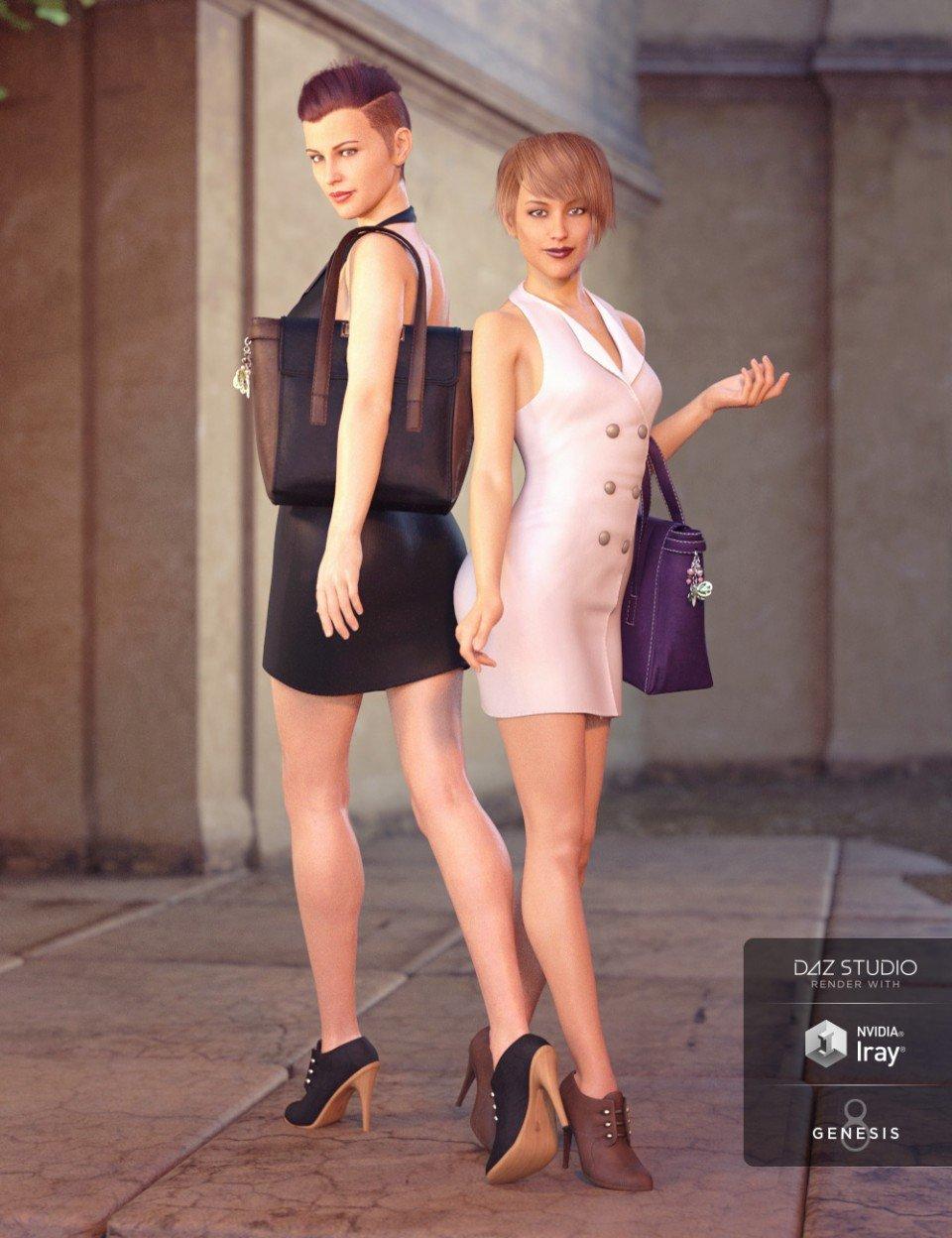 Blazer Dress with Tote Bag Textures_DAZ3D下载站